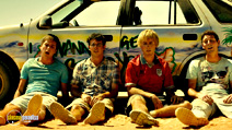 A still #16 from The Inbetweeners 2 with Joe Thomas, Simon Bird, James Buckley and Blake Harrison