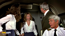 A still #14 from Airplane! with Julie Hagerty, Leslie Nielsen, Peter Graves and Lorna Patterson