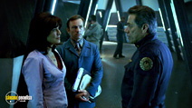 A still #39 from Battlestar Galactica: Series 1 with Edward James Olmos and Mary McDonnell