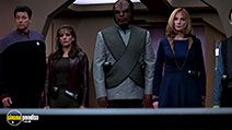 A still #2 from Star Trek 9: Insurrection (1998) with Michael Dorn, Jonathan Frakes, Gates McFadden and Marina Sirtis