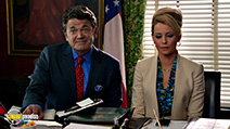 A still #44 from Pitch Perfect 2 with Elizabeth Banks and John Michael Higgins