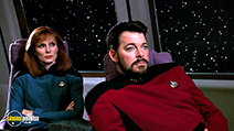 A still #41 from Star Trek: The Next Generation: The Best of Both Worlds with Jonathan Frakes and Gates McFadden