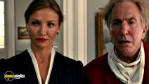 A still #20 from Gambit with Alan Rickman and Cameron Diaz