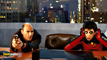 A still #2 from Kick-Ass (2010) with Mark Strong and Christopher Mintz-Plasse