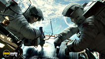 A still #11 from Gravity with George Clooney and Sandra Bullock