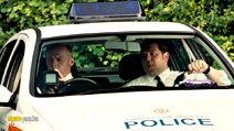 A still #8 from Hot Fuzz with Simon Pegg and Nick Frost